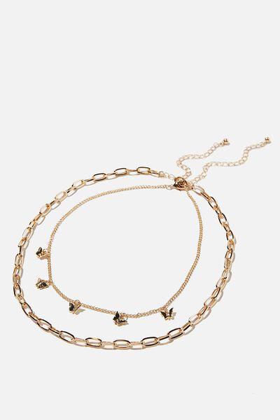 Keepsake 2 Pack Necklace Set, GOLD BUTTERFLY