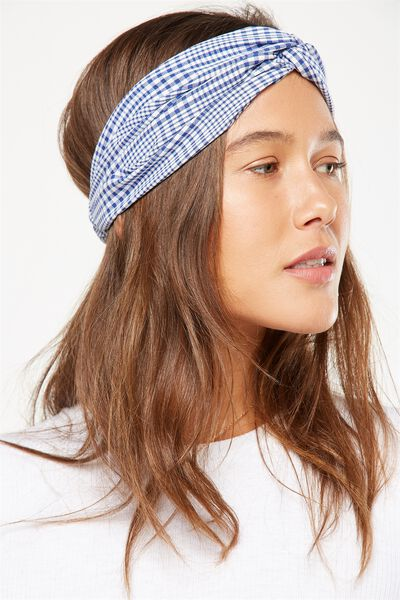 Manhattan Headband, BLUE GINGHAM