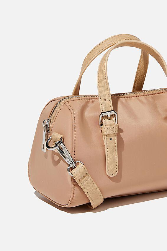 Mini Nylon Bowling Bag, BROWN TAUPE