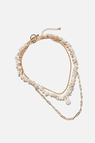 Holiday Beachcomber Layered Necklace, CREAM