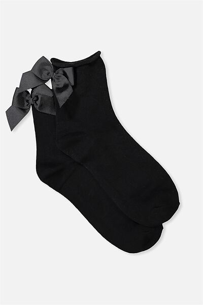Back Bow Sock, BLACK