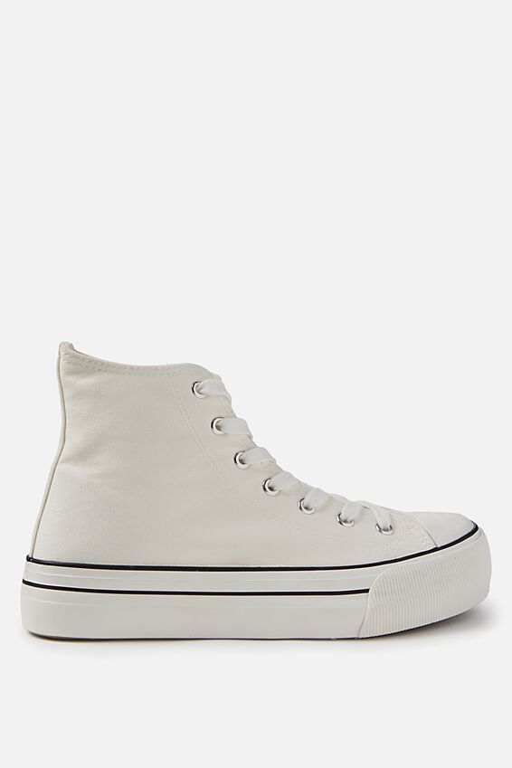 Platform Jemma High Top Sneaker, WHITE CANVAS