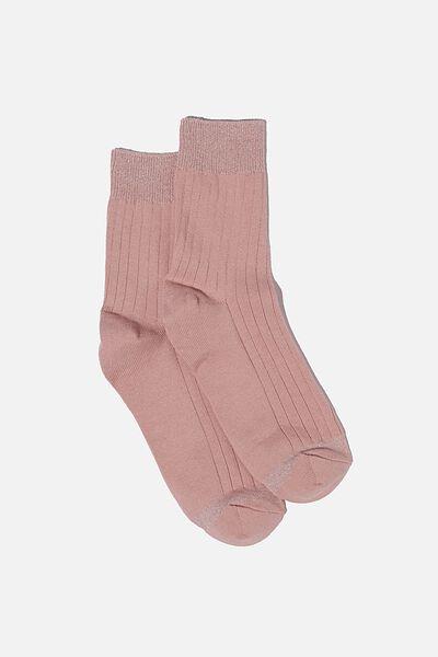 Sparkle Rib Sock, LILAC