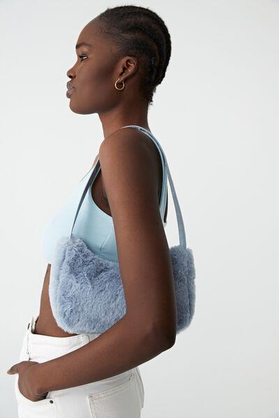 Nadia Underarm Bag, BLUE FLUFFY