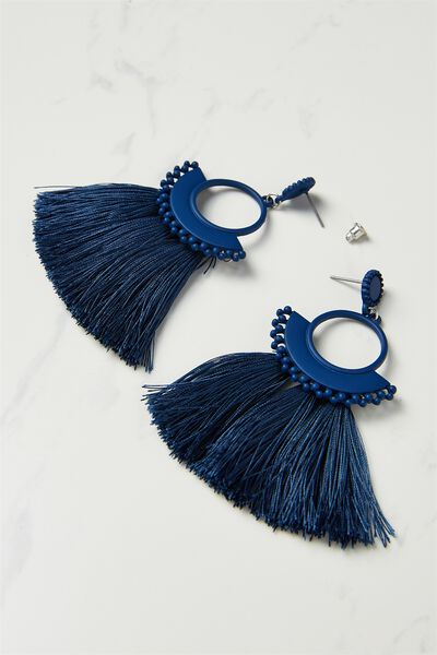 Funky Fan Earring, NAVY