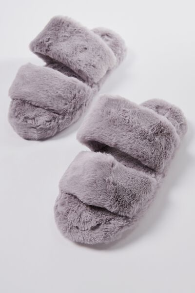Double Strap Fluff Slipper, MID GREY