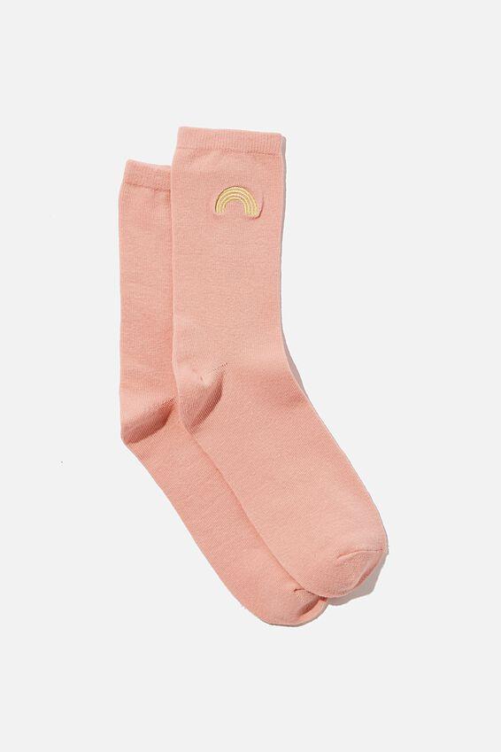 Carrie Crew Sock, DUSTY PINK FEELING OPTIMISTIC