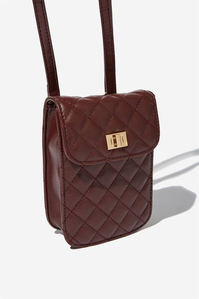 Danielle Quilted Belt Bag, OXBLOOD