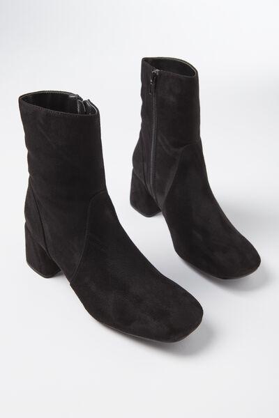 Collins Square Toe Boot, BLACK MICRO