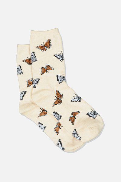 Carrie Crew Sock, OAT/BUTTERFLIES
