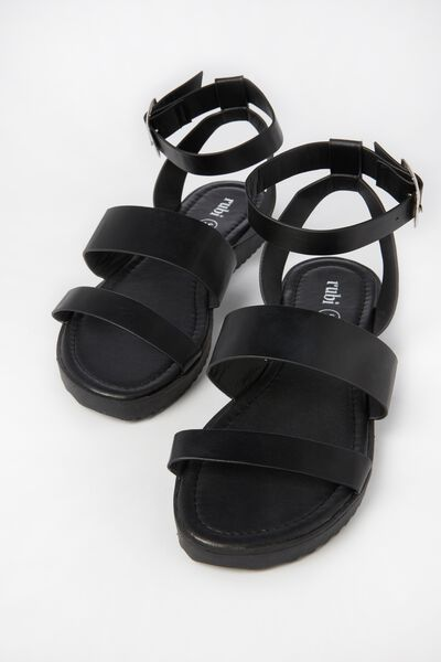 Tru Gladiator Buckle Sandal, BLACK PU