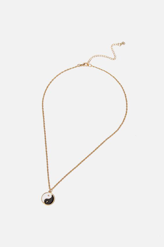 Treasures Short Pendant Necklace, GOLD YIN & YANG