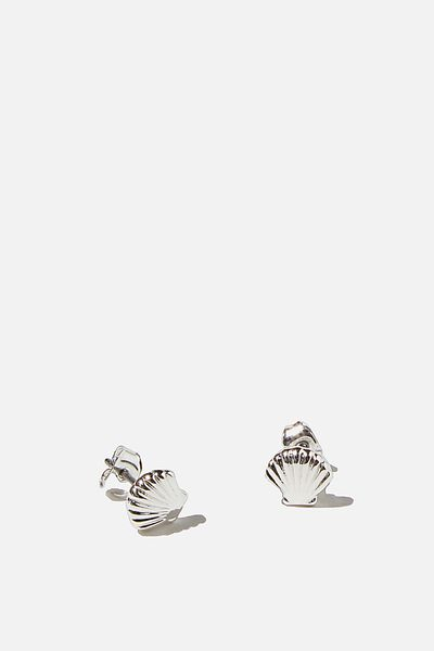 Premium Stud Earrings, CLAM SHELL STERLING SILVER