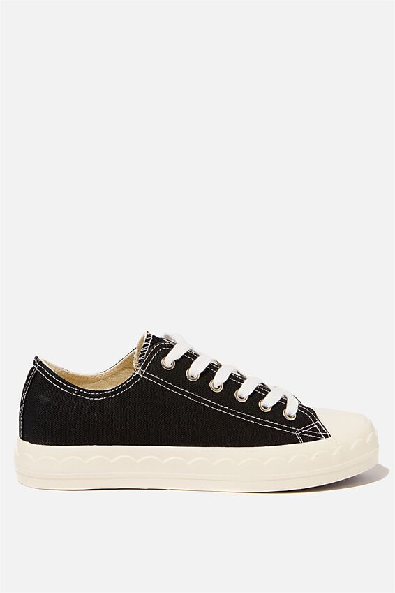 Jodi Low Rise Sneaker 1, BLACK SCALLOP