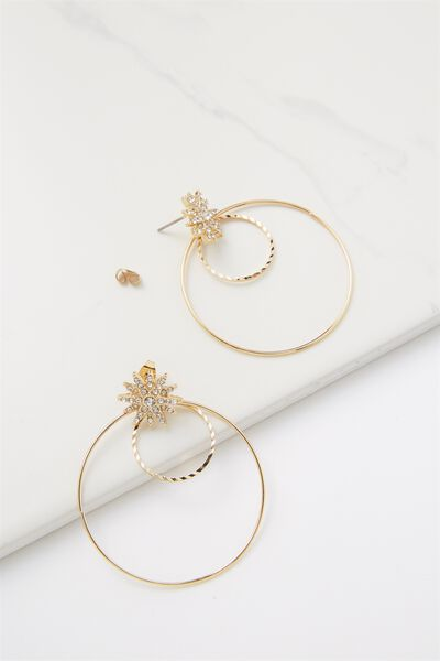 Penny Star And Hoop Earring, GOLD