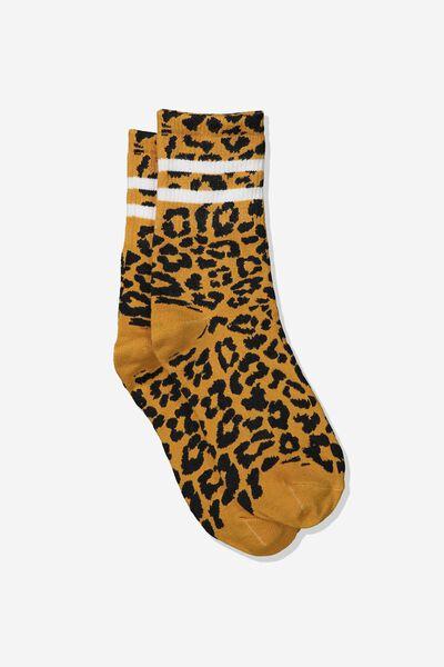Fine Rib Sports Sock, MUSTARD LEOPARD