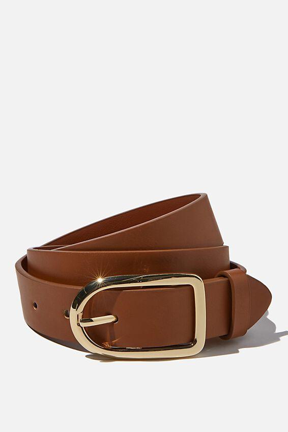 Everyday Essential Buckle Belt, TAN/ GOLD