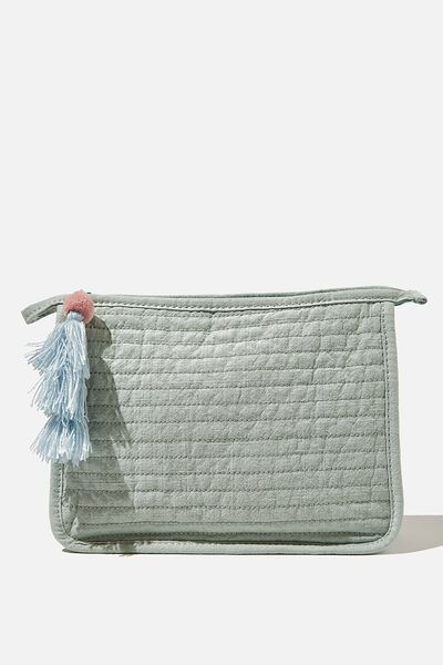 Quilted Cosmetic Pouch, WASHED MINT