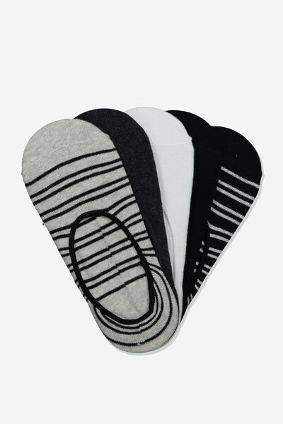 5Pk Low Cut Sock, BLACK STRIPE