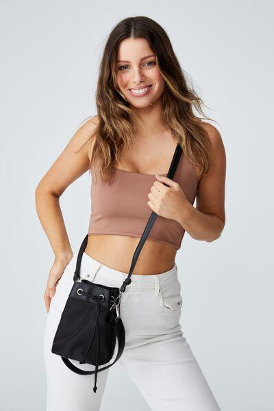 Mini Bucket Bag, BLACK