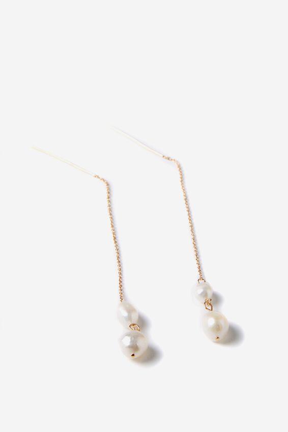 Aurora Chain Earring, PEARL/GOLD