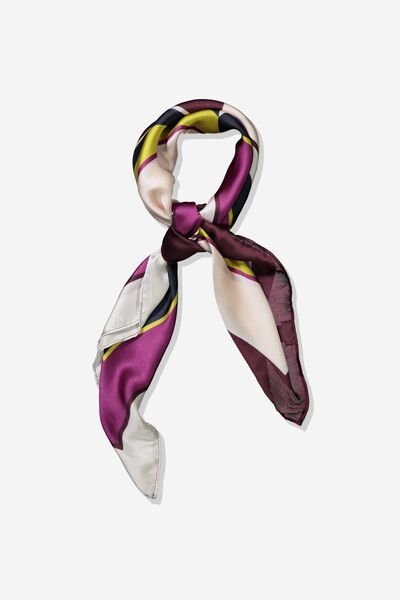 Fleur Large Satin Scarf, RACHAEL COLOUR BLOCK