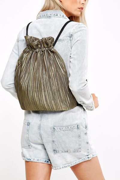 Juliet Pleated Draw String Bag, KHAKI