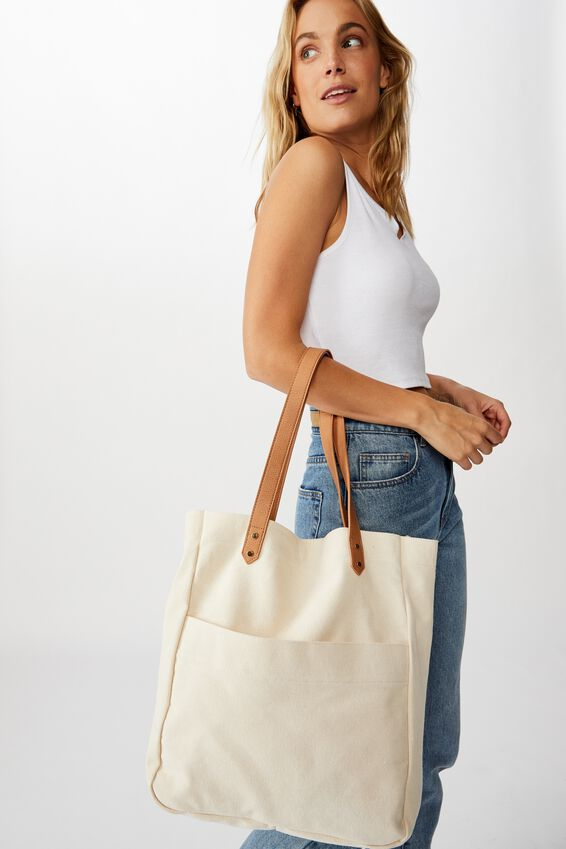 Olive Carryall Tote Bag, NATURAL