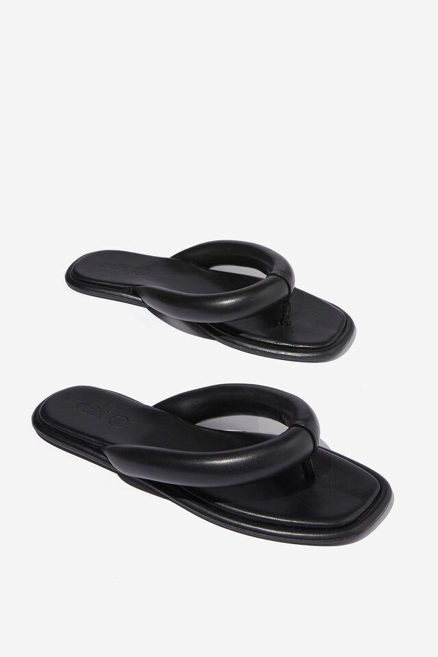 Luna Padded Flip Flop Slide, BLACK PU