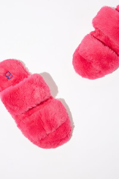 Double Strap Fluff Slipper, SUPER PINK
