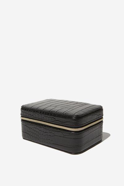 Medium Jewellery Box, BLACK CROC