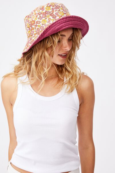 Elly Reversible Wide Brim Bucket Hat, RETRO YELLOW DITSY FLORAL