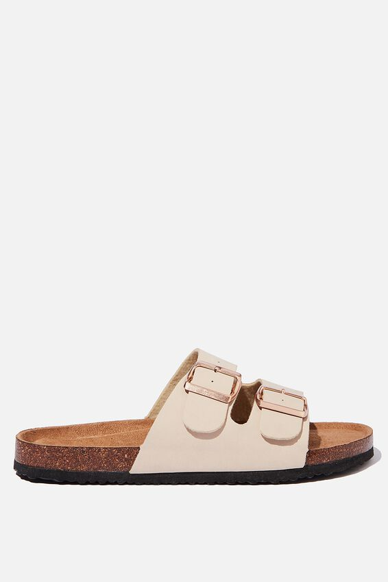 Rex Double Buckle Slide, ECRU NUBUCK