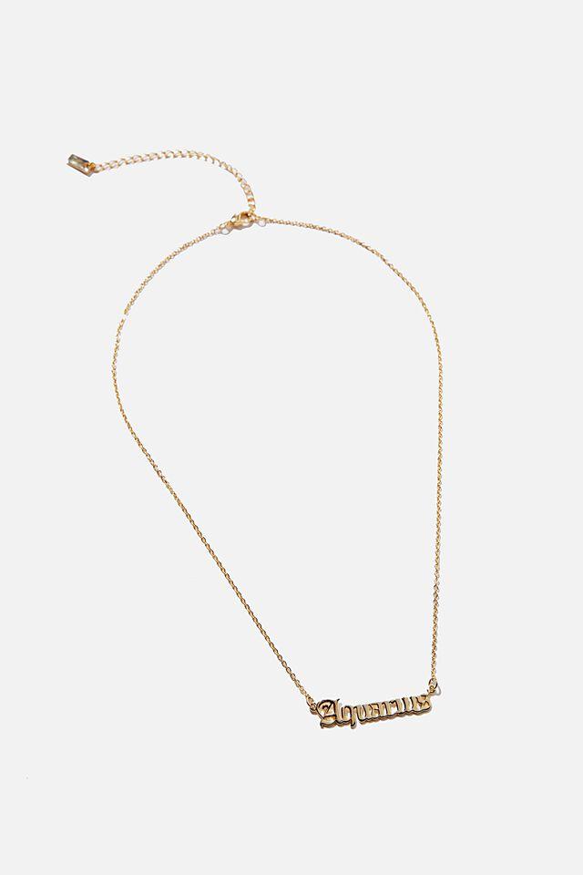 Premium Pendant Necklace, GOLD PLATED ZODIAC AQUARIUS