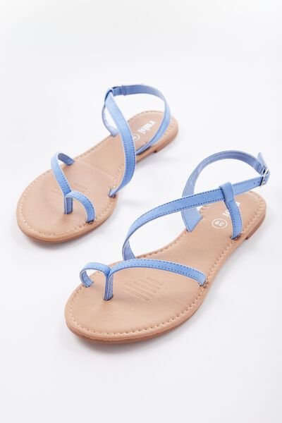 Everyday Annie Asymetric Sandal, CORNFLOWER BLUE MICRO