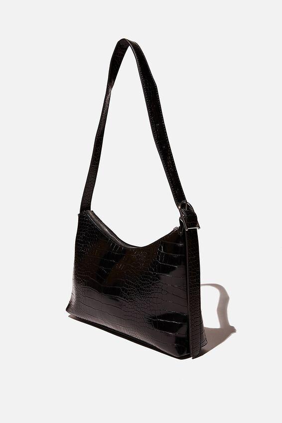 Britt Buckle Slouch Bag, BLACK TEXTURE