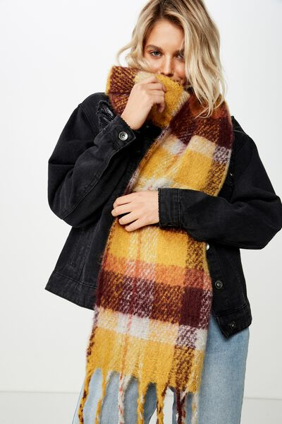 Pippa Brushed Tassel Scarf, WINE CHECK