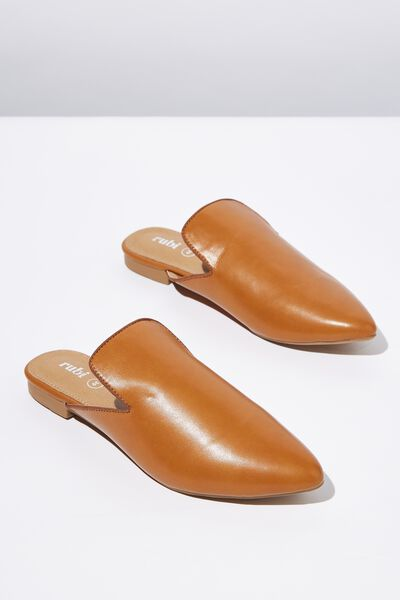 Souk Pointed Slipper Mule, TAN SMOOTH PU