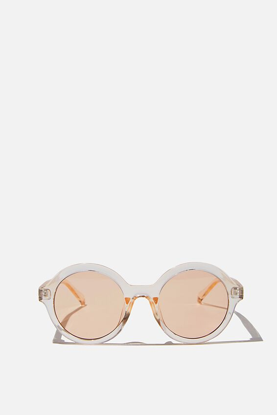 Rylee Round Sunglasses, BEIGE CRYSTAL/AMBER