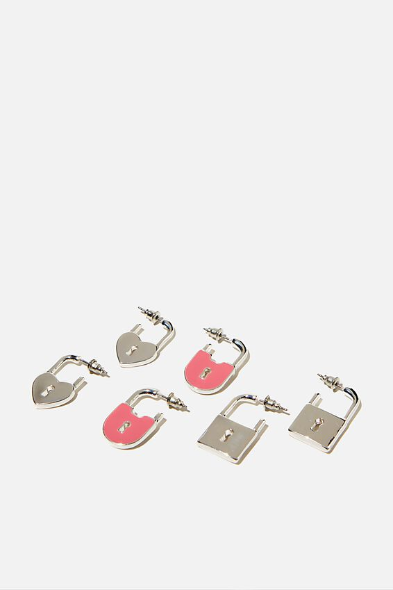 3Pk Luxe Layers Hoops, SILVER PADLOCK