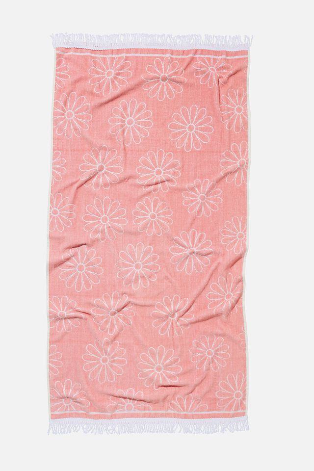 Bondi Rectangle Towel, CALI PINK DAISY