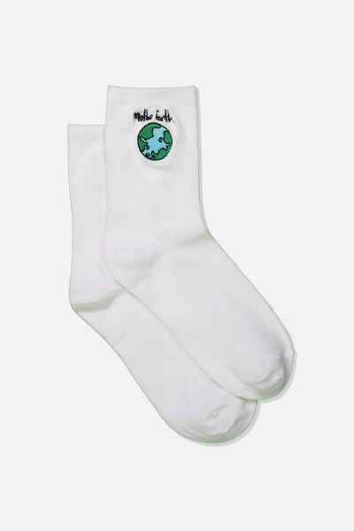 Embroidered Crew Sock, WHITE/MOTHER EARTH
