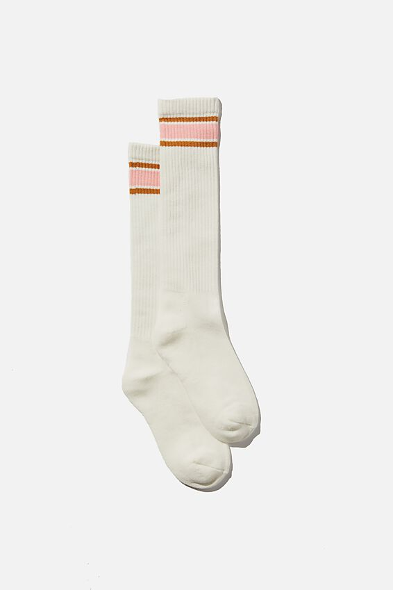 The Dad Sock, ECRU/WASHED PINK/RETRO YELLOW