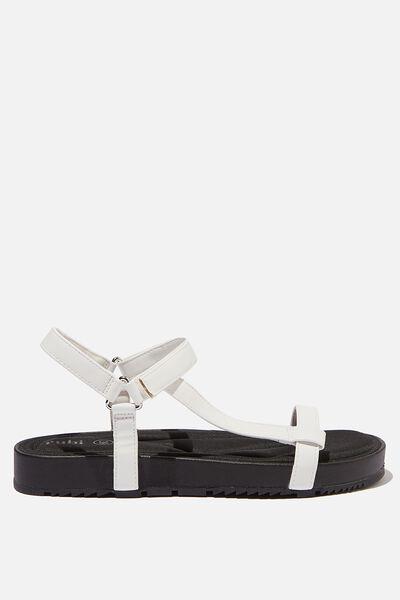 Malmo Flatform Sporty Sandal, WHITE PU