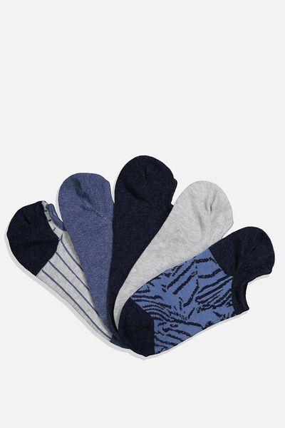 5Pk Sports Low Cut Sock, MID BLUE CRAZY ANIMAL