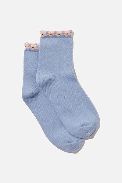 Millie Quarter Crew Sock, WAVE BLUE FLOWER