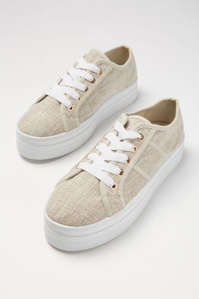 Willow Platform Sneaker, TAUPE LINEN