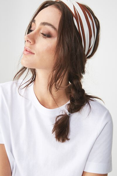 Manhattan Headband, RUST/CREAM BLOCK STRIPE