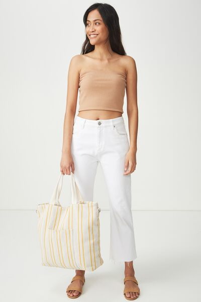 Slouchy Washed Tote, YELLOW STRIPE