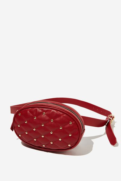 Brodie Belt Bag, RED QUILTED W STUDS